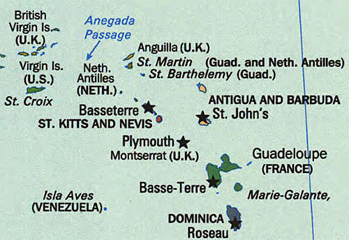 Eastern Caribbean Island Map