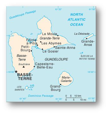 Map of Guadeloupe: Overview