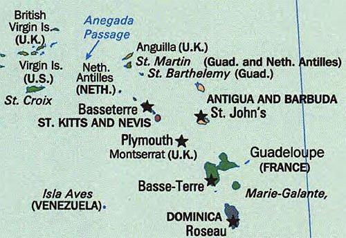 Eastern Caribbean Island Map