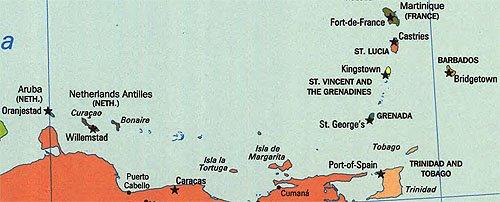 Southern Caribbean Island Map