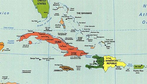 Western Caribbean Island Map